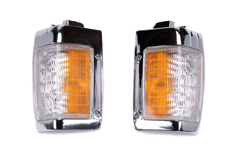 Nissan pickup front side marker signal lens 1990-197 amber with lens chrome   ,   LEFT or  RIGHT